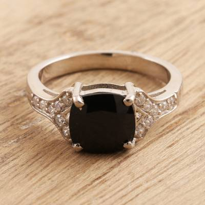 Spinel cocktail ring, 'Stunning at Midnight' - Black Spinel and Cubic Zirconia Cocktail Ring