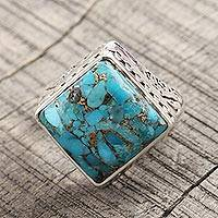 Men's sterling silver ring, 'Blue Spectrum' - Hand Crafted Silver and Composite Turquoise Men's Ring