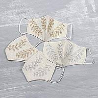 Cotton face masks, 'Laurel Leaves' (set of 4) - Laurel Branch Set of 4 Cotton Reusable Face Masks