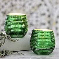 Glass votive candleholders, 'Green Light' - Round Green Glass Votive Candleholders (Pair)