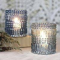 Glass votive candleholders, 'Vintage Light' (pair) - Silver and Light Blue Votive Candleholders (Pair)