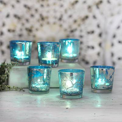 Glass votive candleholders, 'Timeless Glow in Blue' (set of 6) - Blue and Silver Glass Votive Candleholders (Set of 6)