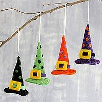 Wool felt ornaments, 'Magical Hats' (set of 4) - Witch Hat Halloween Ornaments (Set of 4)