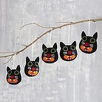 Wool felt ornaments, 'Black Cats' (set of 5) - Hand Crafted Black Cat Wool Felt Ornaments (Set of 5)