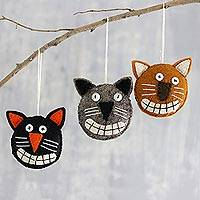 Wool felt ornaments, 'Halloween Cats' (set of 3) - Cute Halloween Cat Ornaments from India (Set of 3)