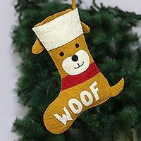 Wool felt Christmas stocking, 'Woof' - Cute Wool Felt Puppy Dog Christmas Stocking