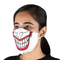 Cotton face masks, 'Spooky Clown' (pair) - Spooky Clown Smile Reusable Cotton Face Masks Pair