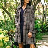 Wool-blend car coat, 'Delhi Classic' - Black and White Glen Plaid Car Coat