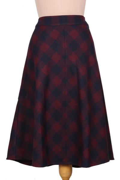 Hand Made Wool Blend Plaid Skirt