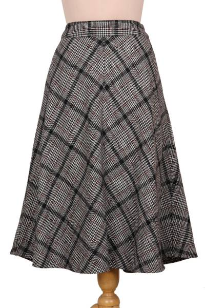 Hand Crafted Wool Blend Houndstooth Skirt