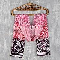 Cotton batik scarf, 'Water World in in Rose' - Hand Printed Underwater Cotton Batik Scarf