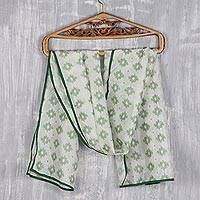 Cotton batik scarf, 'Starry Elegance in Green' - Hand Made Cotton Batik Star Scarf