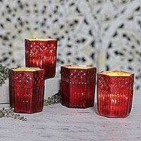 Glass votive candleholders, 'Red Hexagon' (set of 4) - Set of 4 Red Glass Votives