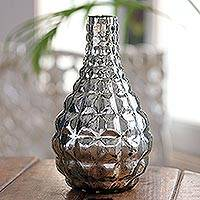 Glass vase, 'Silver Pillows' - Silvery Molded Glass Flower Vase