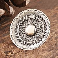Sterling silver cocktail ring, 'Round Mandala' - Hand Made Sterling Silver Mandala Cocktail Ring