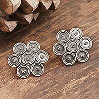 Sterling silver button earrings, 'Modern Flower' - Sterling Silver Button Earrings Modern Flower