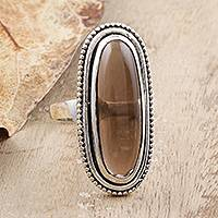 Smoky quartz cocktail ring, 'Bliss & Beauty' - Smoky Quartz Sterling Silver Cocktail Ring