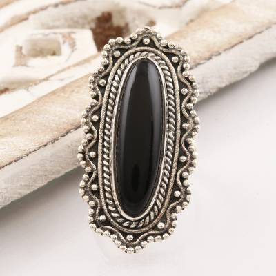 Onyx cocktail ring, 'Magnificence in Black' - Ornate Black Onyx Cabochon Sterling Silver Cocktail Ring