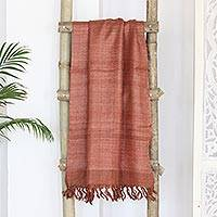 Silk shawl, 'Brown Spice' - Artisan Crafted Fringed Silk Shawl from India