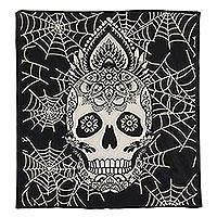 Cotton wall hanging, 'Midnight Skull' - India Black & White Cotton Silk Screen Skull Wall Hanging