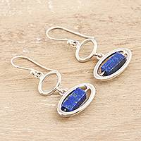 Lapis lazuli dangle earrings, 'Ocean Mirror in Blue' - Hand Made Lapis Lazuli Dangle Earrings