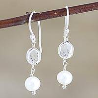 Cultured freshwater pearl dangle earrings, 'Song of Paradise in White' - Hand Made Cultured Freshwater Pearl Dangle Earrings