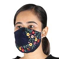 Embroidered cotton face masks, 'Midnight Garden' (set of 3) - Midnight Blue Cotton Face Masks with Embroidery (Set of 3)