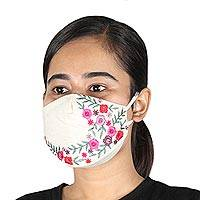 Embroidered cotton face masks, 'Ivory Garden' (set of 3) - Floral Embroidered Ivory Cotton Face Masks (Set of 3)