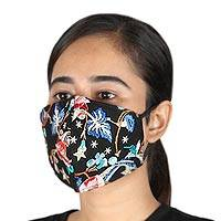 Cotton face masks, 'Delhi Glamour' (pair) - Embroidered Black Three Layer Face Masks (Pair)