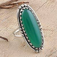 Onyx cocktail ring, 'Crowned in Glory in Green' - Oval Cabochon of Green Onyx Cocktail Ring