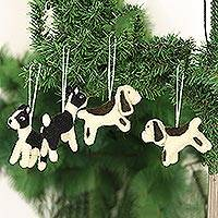 Wool felt ornaments, 'Sit, Stay, Heel' (set of 4) - Set of 4 Wool Felt Dog Ornaments