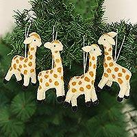 Wool felt ornaments, 'Cheerful Giraffes' (set of 4) - Set of 4 Giraffe Wool Felt Ornaments