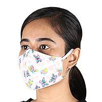 Cotton face masks, 'Flutter' (pair) - Pair of Butterfly Print Triple Layer Cotton Face Masks