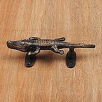 Brass door handle, 'Crocodile'