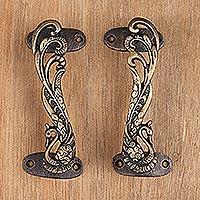 Brass door handles, 'Royal Peacocks' (pair)
