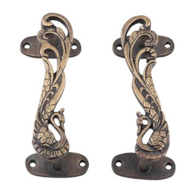Brass door handles, 'Royal Peacocks' (pair) - Brass Peacock Door Handle Pair