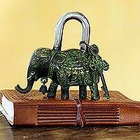 Brass padlock and keys, 'Her Majesty' - Brass Elephant Padlock with Keys