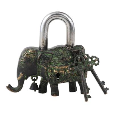 Brass padlock and keys, 'Her Majesty' - Brass Elephant Padlock with Keys