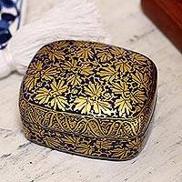 Papier mache decorative box, 'Blue Golden Foliage' - Handmade Blue Papier Mache Golden Leaf Decorative Box