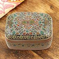 Papier mache jewelry box, 'Royal Persia' - Handmade Papier Mache Persian Motif Jewelry Box