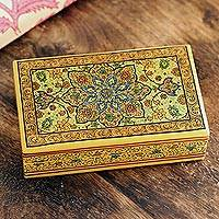 Papier mache decorative box, 'Floral Nobility' - Hand Painted Papier Mache Decorative Floral Box