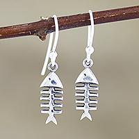 Sterling silver dangle earrings, 'Fish Feast' - Hand Crafted Sterling Silver Fish-Themed Dangle Earrings