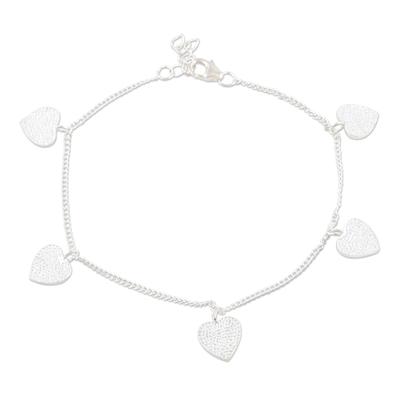 Sterling silver charm bracelet, 'Love Fool' - Handmade Sterling Silver Heart Charm Bracelet