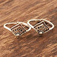Sterling silver toe rings, 'Diamond Tiara' (pair) - Handmade Sterling Silver Toe Rings from India (Pair)