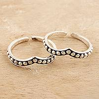 Sterling silver toe rings, 'Silver Lady' (pair) - Hand Crafted Sterling Silver Toe Rings (Pair)