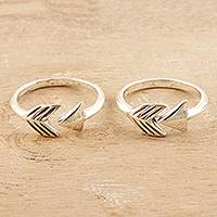 Sterling silver toe rings, 'Bent Arrow' (pair) - Hand Crafted Sterling Silver Arrow Toe Rings (Pair)