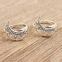 Sterling silver toe rings, 'Sailor Moon' (pair) - Handmade Sterling Silver Crescent Moon Toe Rings (Pair)