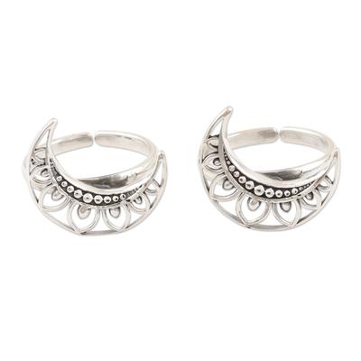 Sterling silver toe rings, 'Sailor Moon' (pair) - Handmade Sterling Silver Crescent Moon Toe Rings (Pair)