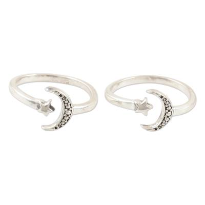 Sterling silver toe rings, 'Match Made in Heaven' (pair) - Handmade Sterling Silver Star and Moon Toe Rings (Pair)