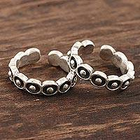Sterling silver toe rings, 'Lucky' (pair) - Hand Made Sterling Silver Toe Rings from India (Pair)